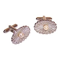 Theda Sterling Silver Marcasite Cultured Pearl Cufflinks | Perfect for Lady or Gent