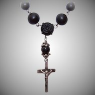 REPURPOSED Rosary Necklace with Cross - Silver Tone Metal and Floral Black Beads