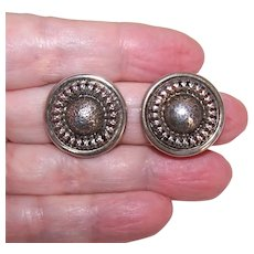 Danecraft Sterling Silver Clipback Earrings - Rounds with Center Dome