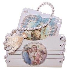 Art Deco French Celluloid Religious Card Holder Prayer Book Holder - Jesus St Joseph Angel Graphic
