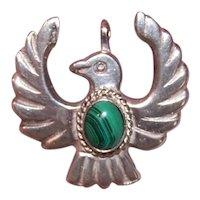 Native American Navajo Sterling Silver Malachite Sandcast Thunderbird Pendant
