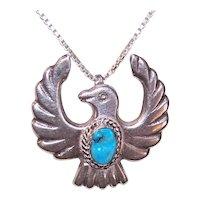 Vintage Mid Century Native American Navajo Sterling Silver Turquoise Sandcast Thunderbird Pendant