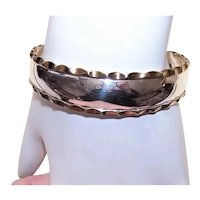 Made in Mexico Mexican Sterling Silver Cuff Bracelet with Yellow Gold Vermeil Rippled Edge | Mexican Jewelry