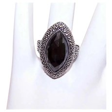 Art Deco Revival Sterling Silver Black Onyx Marcasite Fashion Ring
