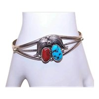 Native American Navajo Sterling Silver Natural Turquoise Red Coral Cab Cuff Bracelet