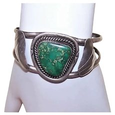 Old Pawn Native American Navajo Sterling Silver Turquoise Cuff Bracelet