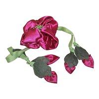 Vintage Hand Sewn Satin & Grosgrain Floral Dress Corsage - Drawstring Closure | Hidden Cash Stash