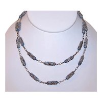 "China Silver Art Deco Enamel 29"" Tubular Filigree Link Necklace - Blues and Purple   China Export Jewelry"