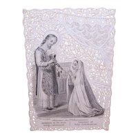 C.1890 Bouasse-Lebel Paris France Paper Lace Religious Card - Souvenir of First Communion - Young Girl | In English