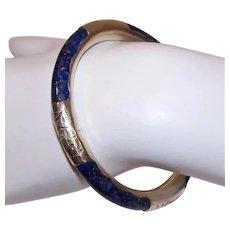 China Export Sterling Silver Lapis Lazuli Hinged Bangle Bracelet