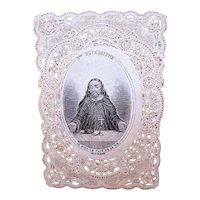 C.1890 French Paper Lace Religious Prayer Card - Image of Jesus Christ (I am the Bread of Life)  | In French