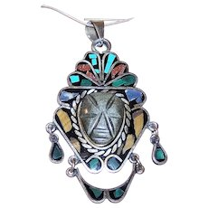 Made in Mexico Mexican Sterling Silver Stone Inlay Pendant with Carved Onyx Tribal Face
