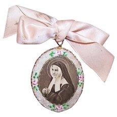 French Religious Devotional - Handpainted Floral Front Agnus Dei | Saint Bernadette Soubirous as a Nun