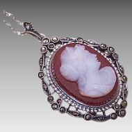 Vintage STERLING SILVER, Marcasite & Hardstone Cameo Pendant Necklace!