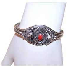 Mike Davis Native American Navajo Sterling Silver Red Coral Cuff Bracelet for a Small Wrist