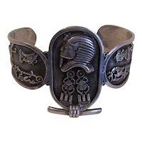 Egyptian 800/900 Silver Cuff Bracelet - Arm Bracelet | Hieroglyphic Panels with Pharaoh Head Scarabs & More
