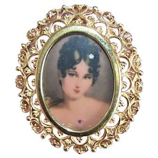 Made in Italy Italian 14K Gold Portrait Miniature Pin or Pendant - Lovely Lady with Diamond in Hair | Ruby at Throat