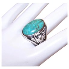 Bell Trading Post Sterling Silver Turquoise Ring with Thunderbird Sides