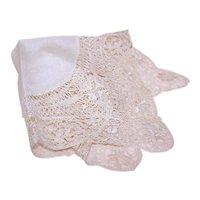 Vintage Cream Lace Edged Silk Handkerchief Hanky | Bridal Hanky