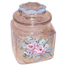 Vintage Lidded Glass Dresser Jar - Cotton Ball Jar | Shabby Chic Painted Florals