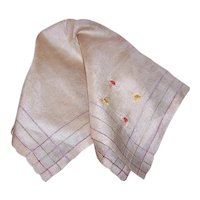 Vintage Buff Colored Silk Handkerchief with Embroidered Flowers | Three Stripes of Color