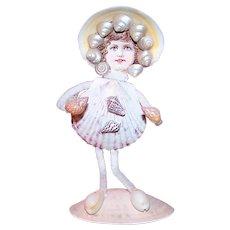 Antique Edwardian Seaside Shell & Chenille Souvenir Figurine - Little Girl