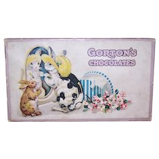 Antique Edwardian Candy Box for Gorton's Chocolates - Easter Bunny in Bonnet | Hat Box & Florals