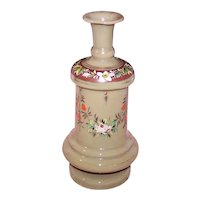Antique Victorian Enamel Bristol Glass Vase   Taupe with Gilt Trim and Hand Painted Florals