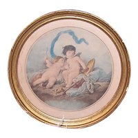 Antique French Gilt Framed Colored Print - Cupid Shot His Arrow   French Rococo Romantic Image