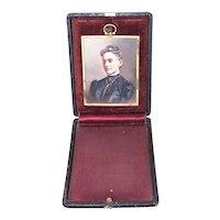 Antique Edwardian Hand Tinted Photo in Gilt Metal Frame   Original Travel Case