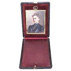Antique Edwardian Hand Tinted Photo in Gilt Metal Frame | Original Travel Case