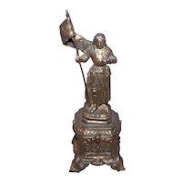 "Antique Victorian C.1880 French 6"" Cast Metal Joan of Arc Statue   Gilt Metal Religious Saint Joan"