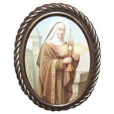 Antique Victorian Oval Brass Easel Frame with Twisted Wire Border | Prayer Card Image of St Clara - Saint Clara