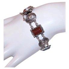 Scottish Sterling Silver Agate & Witch's Heart Link Bracelet | Made in Edinburgh 1975