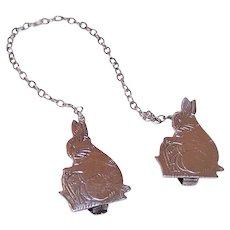 Webster Co Sterling Silver Bib Holder for Baby - Bunny Rabbits