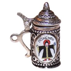 800 Silver Enamel Mechanical Souvenir Charm - Munich Germany Rathaus Beer Stein Tankard | Top Lid Opens