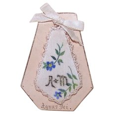 French Religious Devotional - Handpainted Floral Front Agnus Dei | A&M Initials | Convent Work
