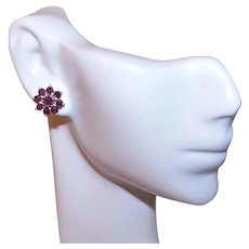 Sterling Silver & Ruby Cluster Floral Pierced Earrings - Posts with Nuts