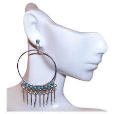 Native American Zuni Sterling Silver Petit Point Turquoise Dangle Drop Hoop Earrings | Pierced Earrings Posts with Nuts