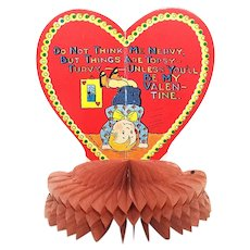 Beistle 1920s Red Honeycomb Valentines Day Card - Young Boy Standing on His Head