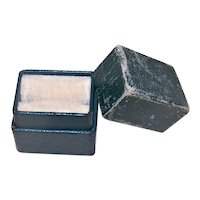 """Vintage """"No Name"""" Jewelers Box for a Ring - Dark Green Paper with Cream Velvet Inside"""
