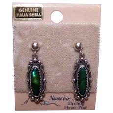 Vintage STERLING SILVER Earrings - Paua Shell, Abalone, Original Card