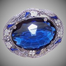 ART DECO Costume Pin - Rhodium Overlay, Enamel, Blue Glass Paste