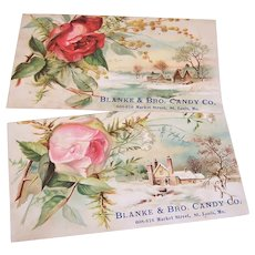 Pair Blanke & Brothers Candy Company Victorian Trade Cards | Pink & Red Roses - Winter Scenes