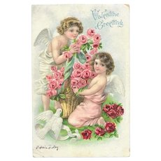 Postally Used Valentines Day Post Card - 2 Angels with Pink/Red Roses and White Dove