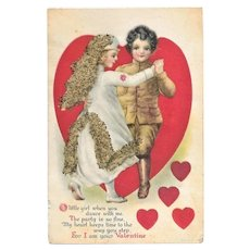Unused World War I Valentines Day Post Card - Soldier Dancing with Nurse