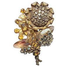 Miriam Haskell Yellow Gold Tone Metal & Rhinestone Floral Pin/Brooch - Sunflowers
