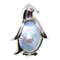 14K Gold Mabe Pearl & Ruby Eyed Penguin Pendant or Pin