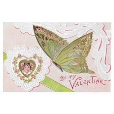 Butterfly Series Vintage Postcard for Valentines Day - Be My Valentine | Postally Unused But Pencil Marks to Reverse