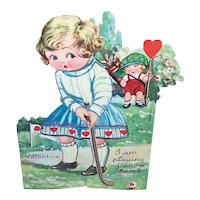 Art Deco Mechanical Valentines Day Card - Young Lady Playing Golf   I am Playing for Your Heart